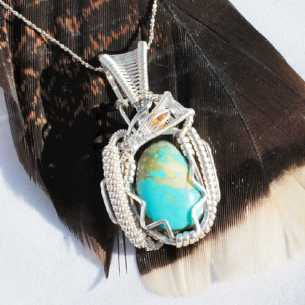 Turquoise & Citrine in Sterling Silver Pendant