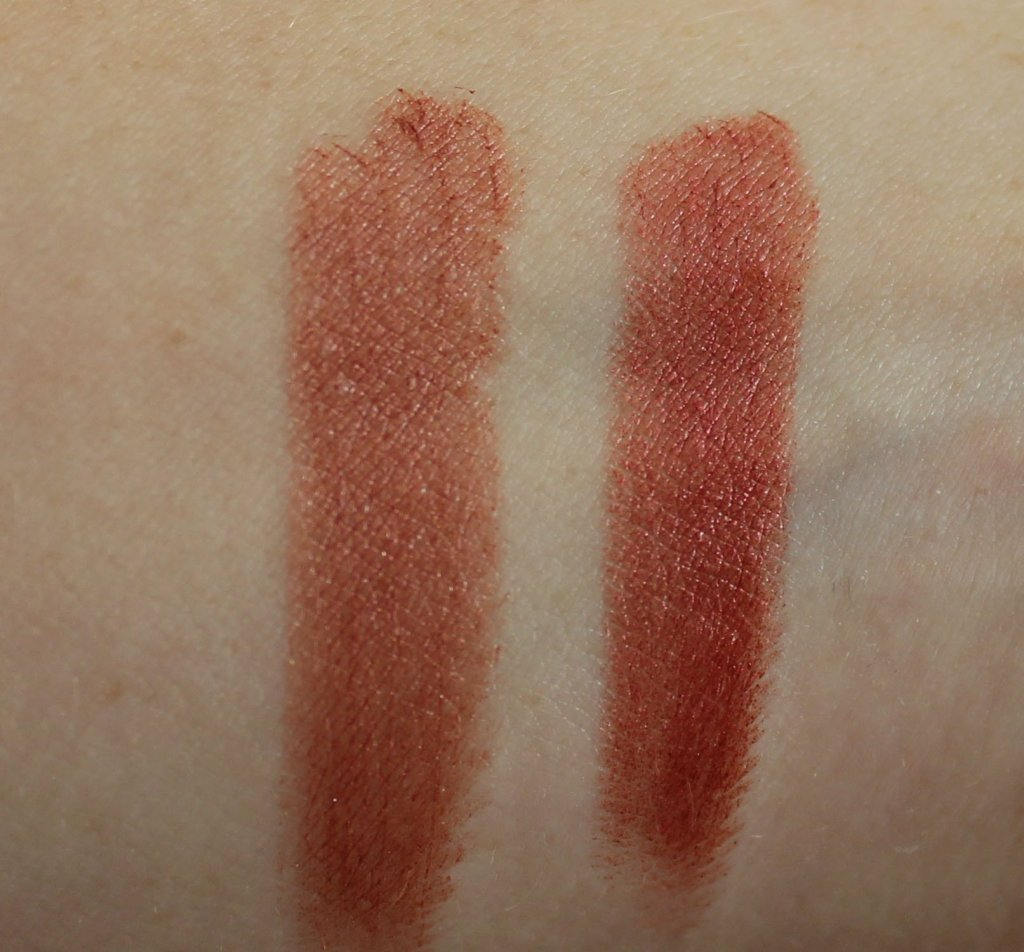 Pure anada petal perfect lipstick swatches ruby and morden's blush