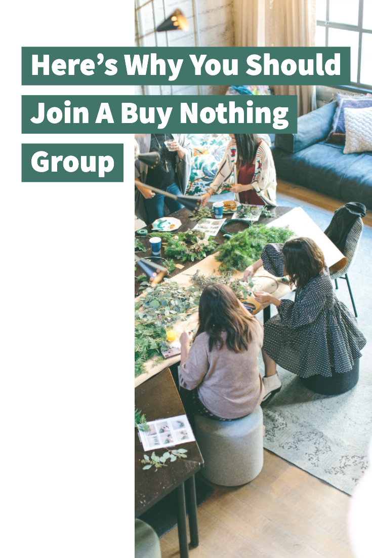 why you should join a buy nothing group pinterest image people crafting