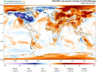 Temperature Deviations from Normal on Date of Politician's Comment, 29-Dec-2017