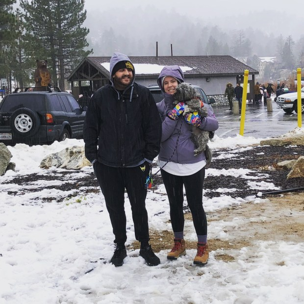 Dog's first snow day in Big Bear, CA with dog parents