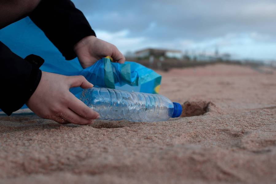 person holding clear plastic bottle