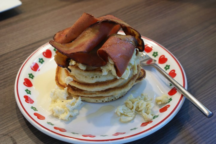 American Pancake Stack with scrambled eggs and fake bacon