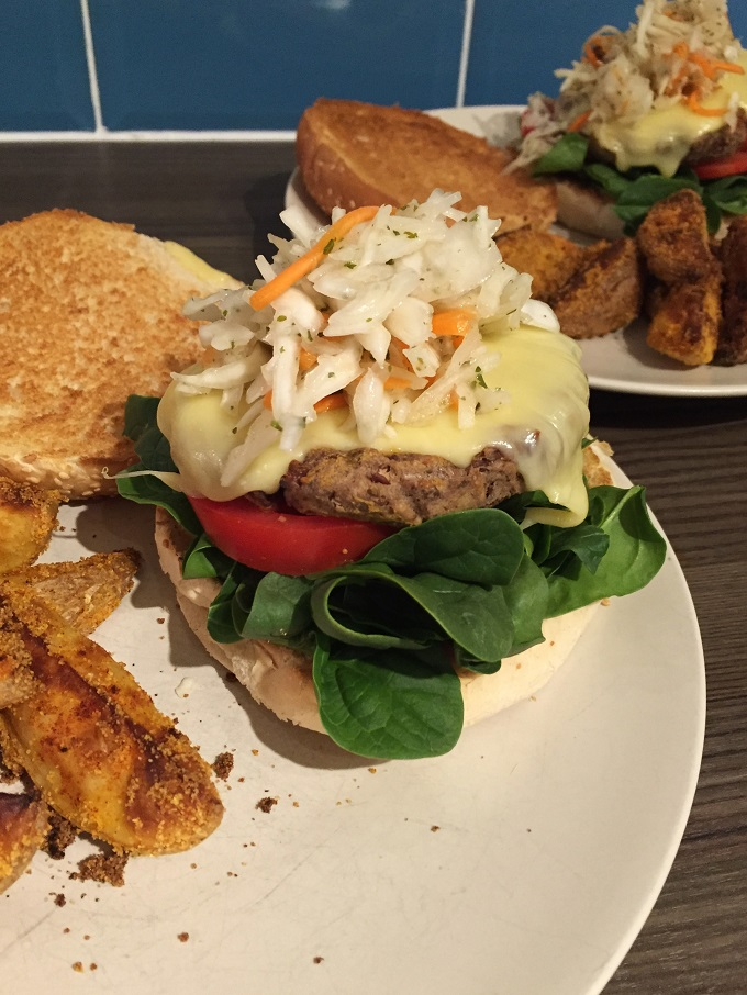 Mustard brushed kidney bean burgers