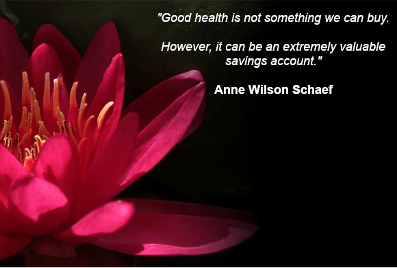 """""""Good health is not something we can buy. However, it can be an extremely valuable savings account."""" Anne Wilson Schaef"""