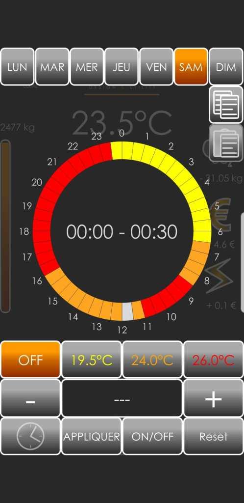 SÛTI App - Programmation horaire - Poêle connecté