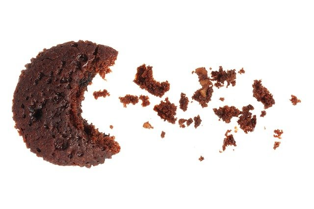 cupcake looking like pacman eating crumbs