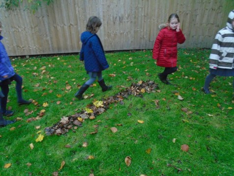 We had fun making snakes out of the autumn leaves.