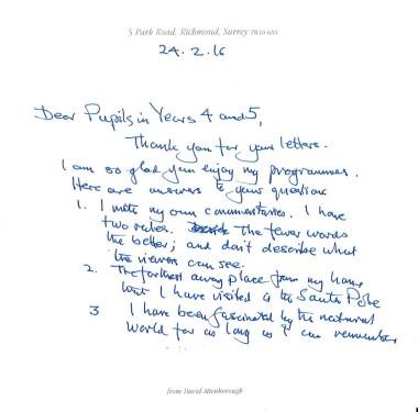 David Attenborough letter 1