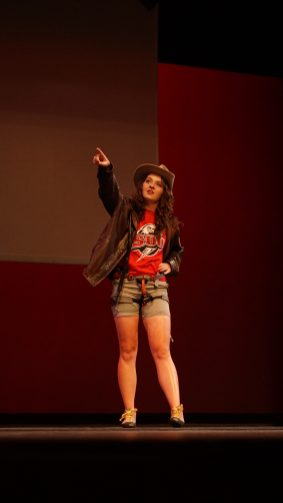 Katie Wills dressed as Indiana Jones during Miss SUU.