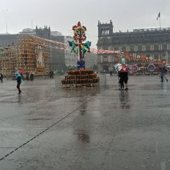 Plaza del Zocalo, deserted during the rain showers