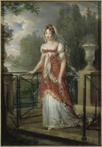 "Miss Georgiana Darcy from Suzan Lauder's ""Letter from Ramsgate"" (Artwork: François-Pascal-Simon Gérard's painting ""Caroline Murat walking in the gardens of Château de Neuilly,"" 1807, from Versailles)"