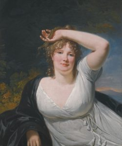 "Lady Edwina Moore from Suzan Lauder's ""Letter from Ramsgate"" (artwork: Henri-Pierre Danloux, Portrait of a Young Lady in a White Dress, from Sotheby's)"