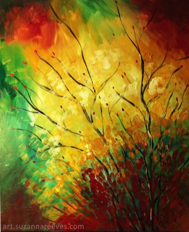 Acrylic Gold Red Green Nature