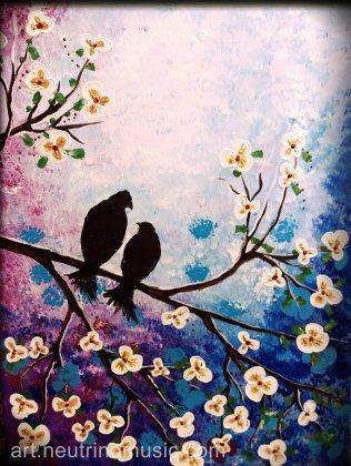Acrylic Love Birds