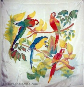 Silk scarf painted by Suzanna