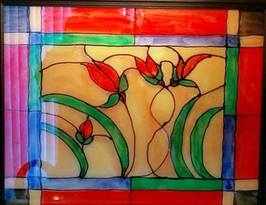 Faux Stained Window using Acrylic and a Frame