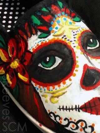 Dia de Los Muertos on Canvas Shoes by Suzanna