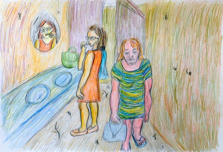 Vrouw komt deemoedig uit de campingdouche lopen. Tekening