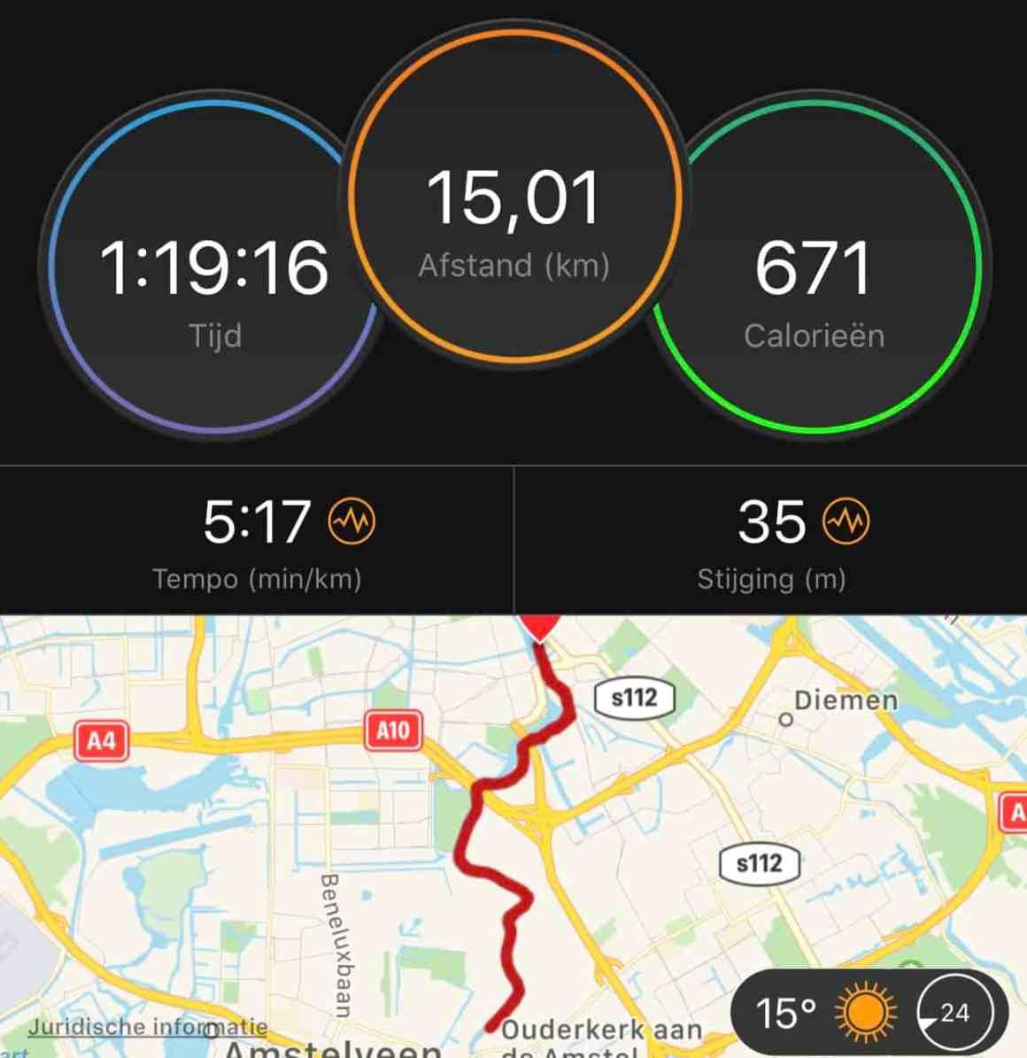 vlakke rustige duurloop 15km marathon training
