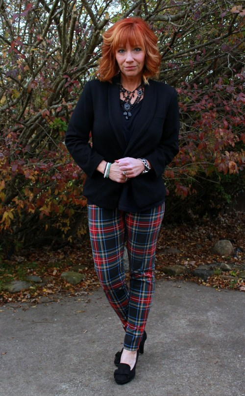 Debbie from Fashion And Fairy Dust wearing some fab plaid pants.