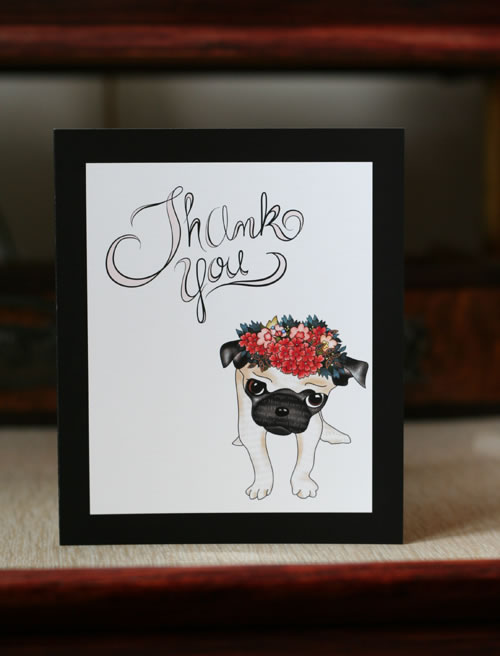 Free printable cute pug Thank You card for all email subscribers to Suzanne Carillo