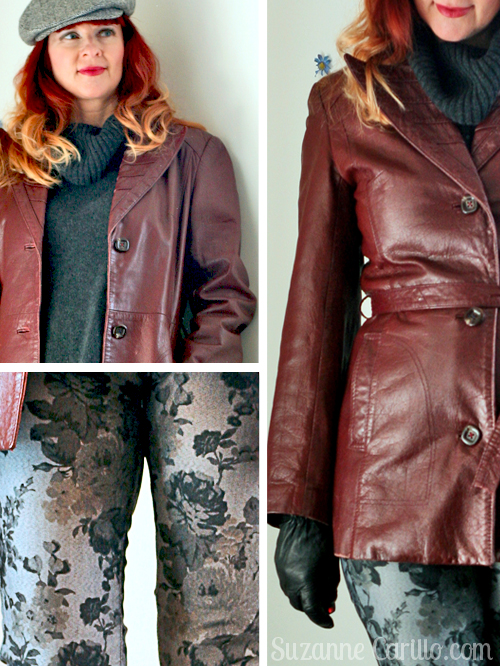 burgundy vintage leather jacket floral jeans