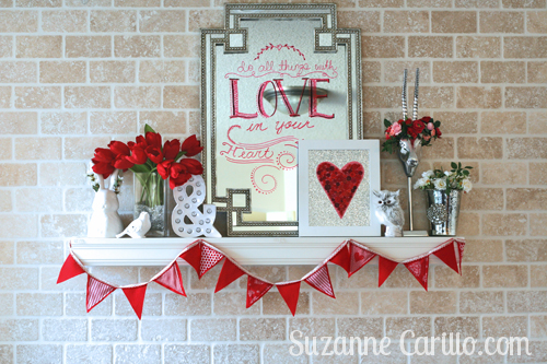 Valentine holiday mantel decor ideas