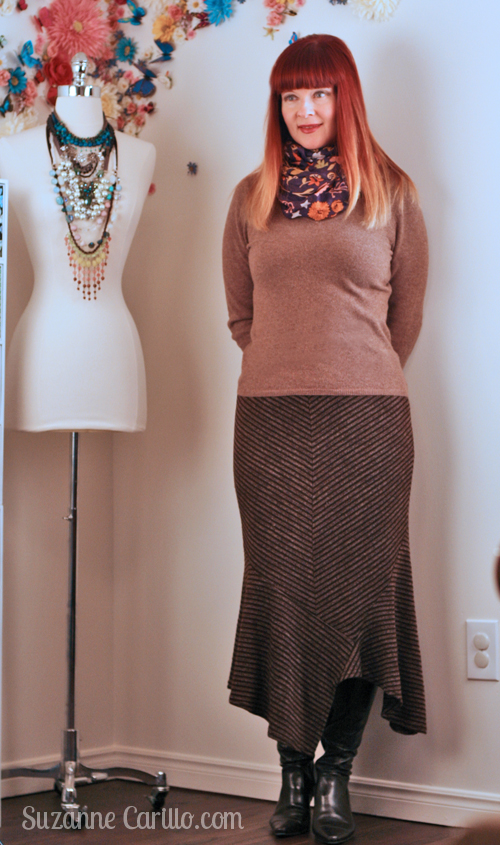 how to wear asymetrical knit skirt over 40