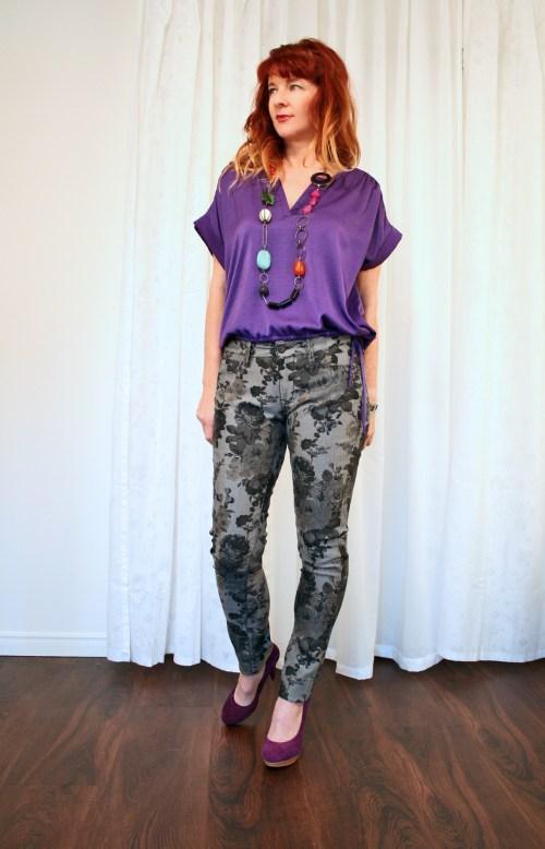 Grey floral jeans