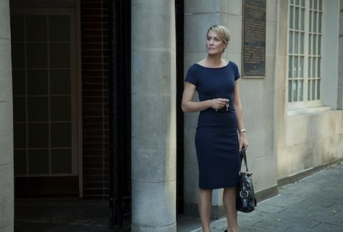claire underwood blue sheath dress