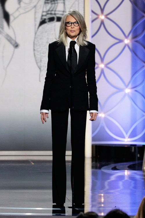 Diane Keaton wearing menswear suit at Golden Globes