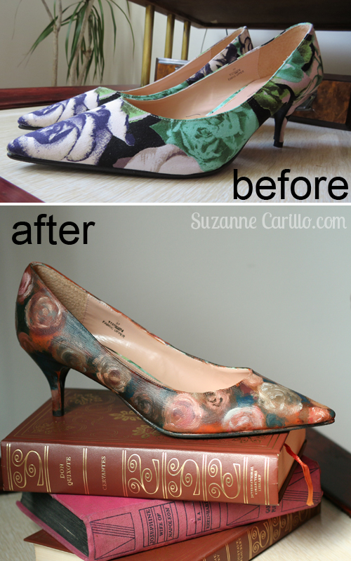 easy DIY painted shoes hand painted floral pumps