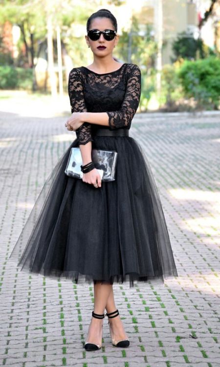 Black tulle skirt with lace