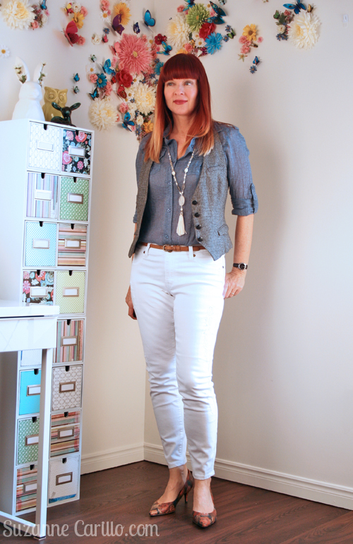 how to style white jeans over 40
