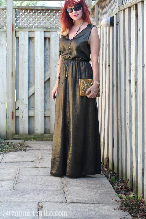 hot to wear a gold maxi dress over 40