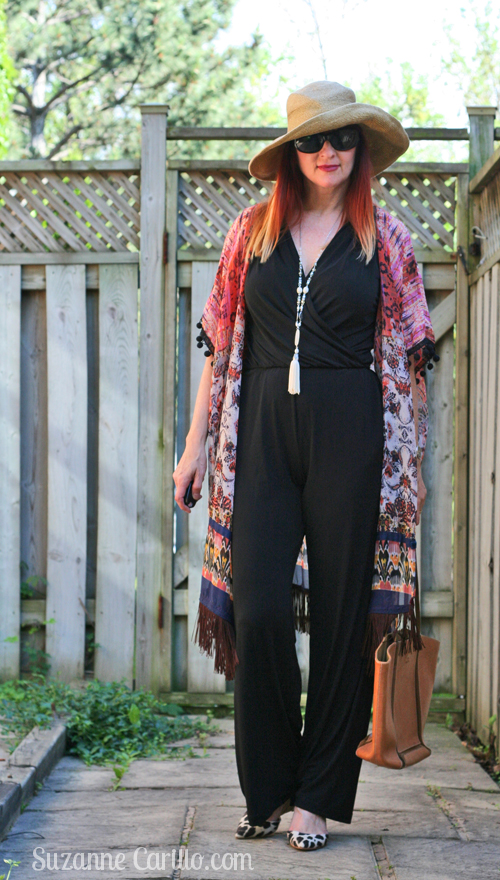 how to style a jumpsuit with a kimono