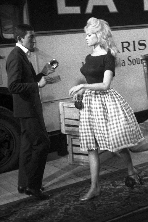 Bridget Bardot wearing gingham skirt