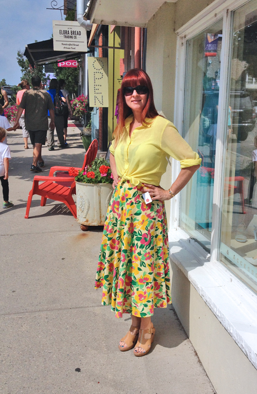 vintage printed midi skirt how to wear vintage over 40 suzanne carillo
