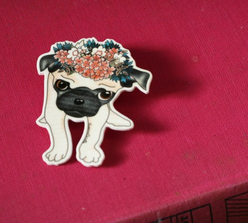 cute pug pin wearing floral crown suzanne carillo