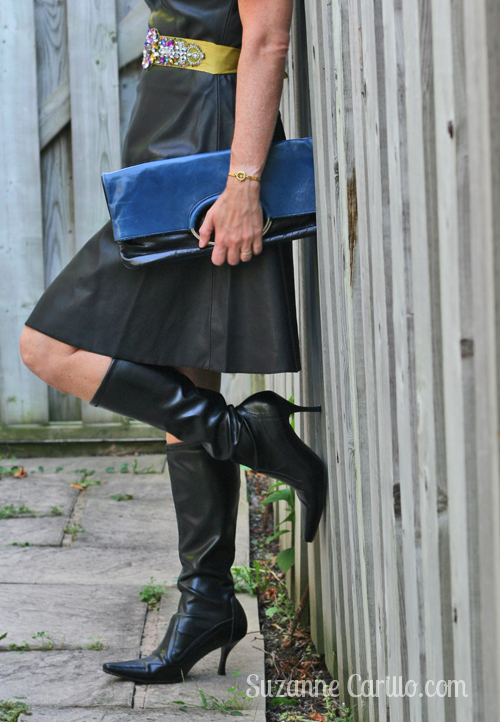 how to style a black leather dress over 40 style suzanne carillo