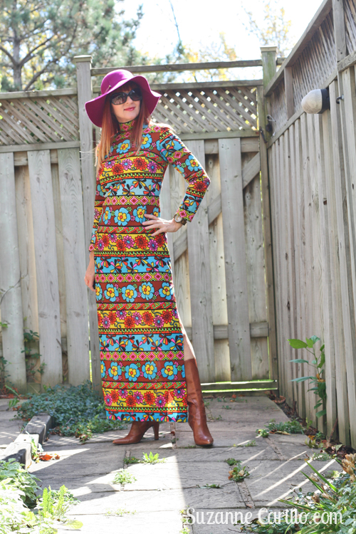 how to wear a bold patterned maxi dress over 40 suzanne carillo