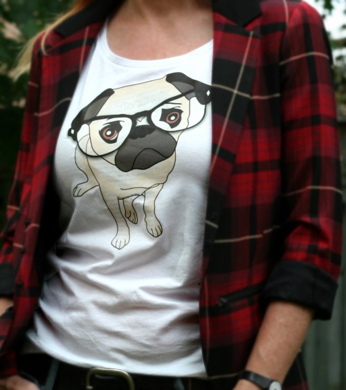 white t-shirt with pug