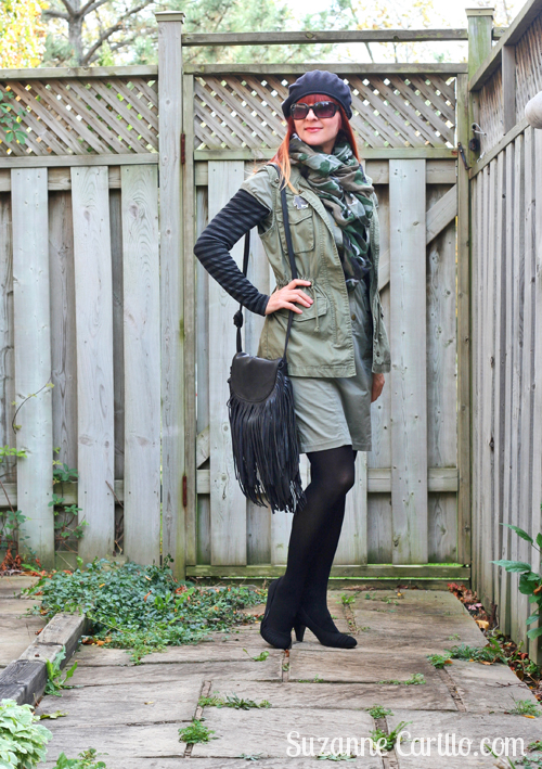 how to wear army green with black for fall over 40 style suzanne carillo