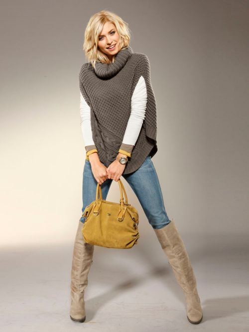 poncho with jeans and boots