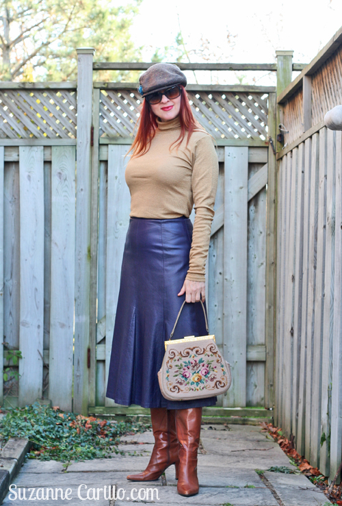 how to style a leather midi skirt over 40 suzanne carillo