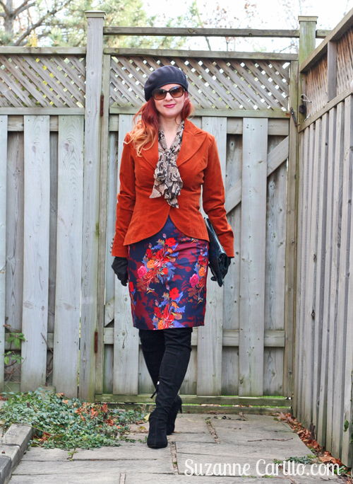 how to wear floral and velvet over 40 suzanne carillo