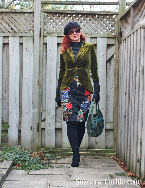 how to wear velvet and florals over 40 suzanne carillo