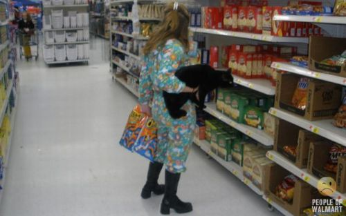 woman wearing pjs shopping with cat