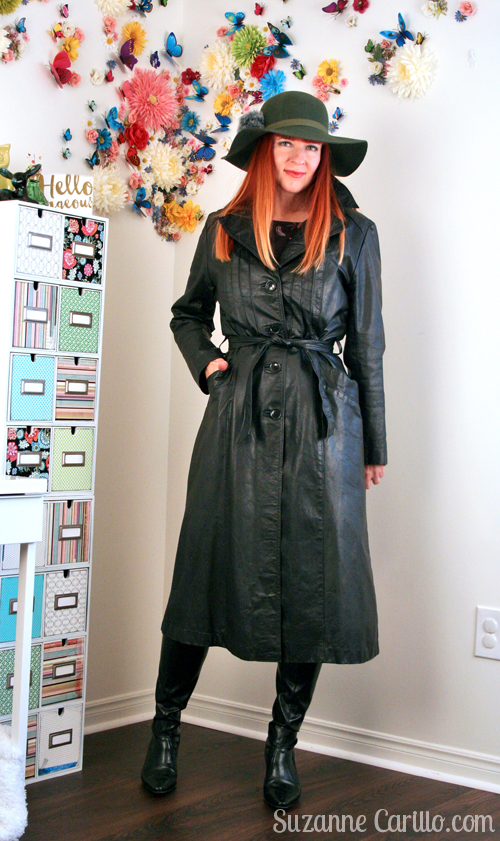 black leather trench coat over 40 style suzanne carillo